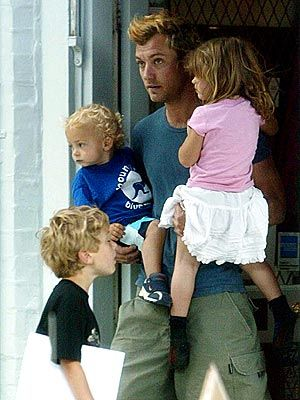Jude Law has 3 children with ex-wife Sadie Frost: Rafferty (b 1996), Iris (b. 2000) and Rudy (b. 2002)