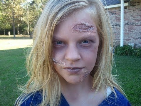 Easy/Free Zombie Makeup for Kids- this mom uses toliet paper and glue mixed with water for flesh wounds! A great look and no cost!!