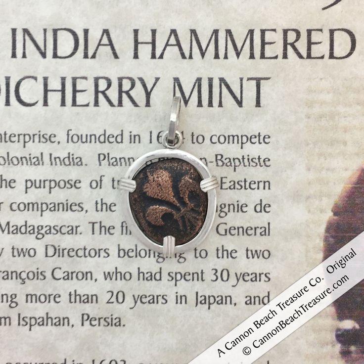 1720-1835 French India Hammered Fleur de Lis Bronze Half Doudou Sterling Necklace