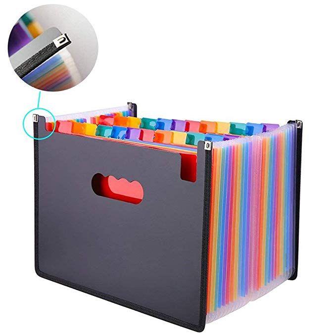 Amazon Com Oak Pine 24 Pocket Expanding File Folder Large Plastic Rainbow Expandable File Organizer Self Standing Accordion A4 Document Folder Wa Organizacao