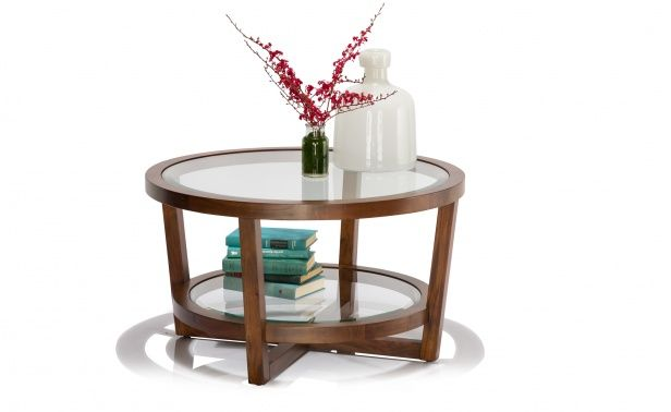 Coco Republic Gramercy Round Coffee Table - Cool Brown