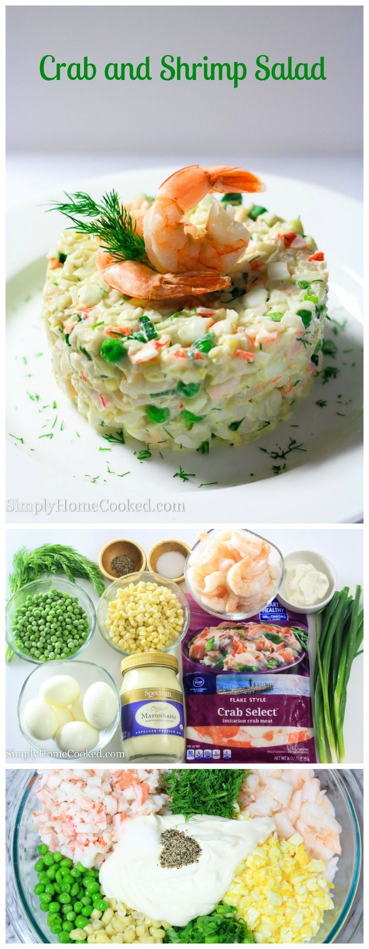An easy and quick seafood salad with no cooking required.   Simply Home Cooked