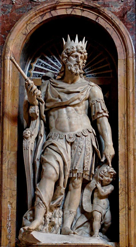 King David - the 2nd King of Israel. As the slayer of the giant Goliath in his youth, he was sought by King Saul as a warrior. Eventually David became king, who ruled justly. According to Jewish tradition, the Messiah would be a descendant of David. According to Christian tradition, Jesus of Nazareth fulfilled this prophecy as outlined in the Books of Matthew & Luke.