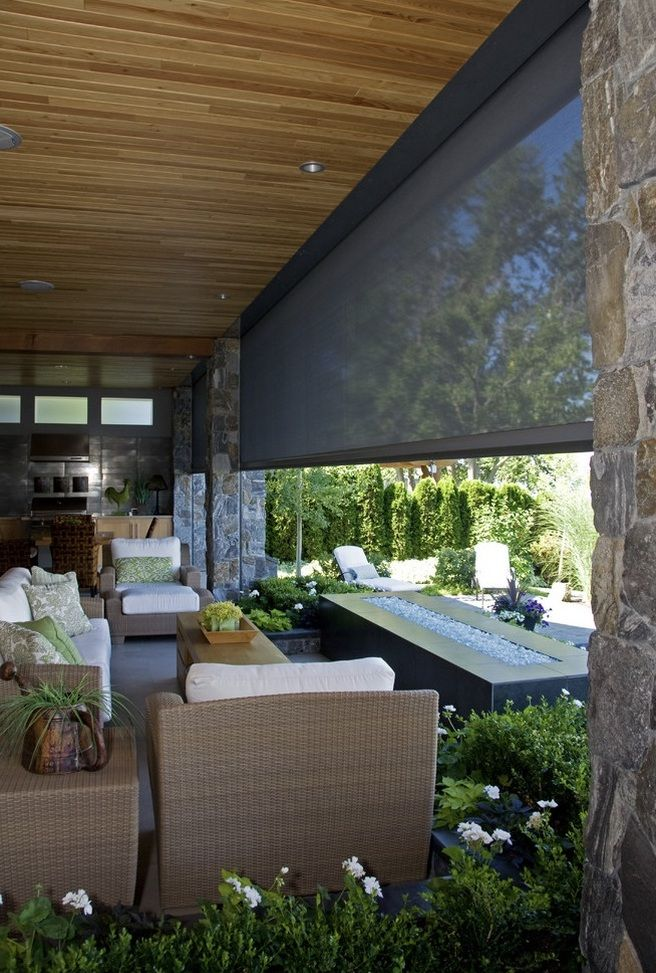 Retractable screens porches patios pinterest shades for Retractable patio screens