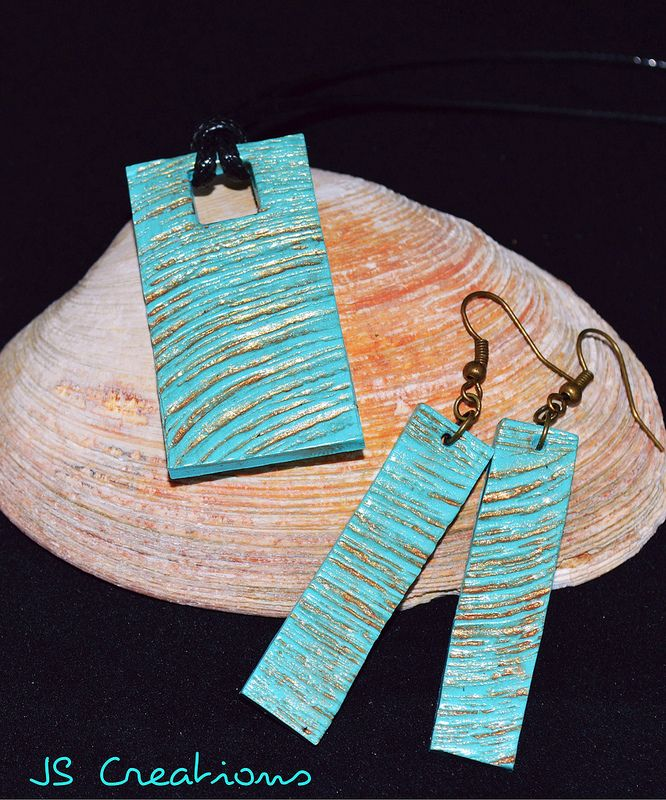 Turquoise polymer clay pendant and earrings