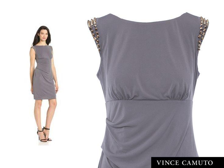 Vince Camuto Studded Dress  http://shopferosh.com/shop/trending-high-fashion/studded-shoulder-steel-grey-dress/