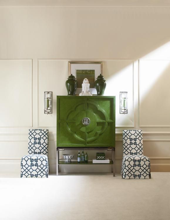Chin Hua Lotus Bar Cabinet, Many Finishes Available, But This Jade Isu2026