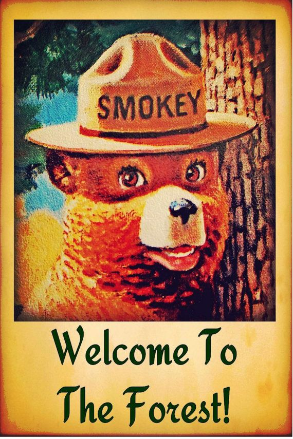 SMOKEY BEAR POSTER 24 X 36 Inch | Welcome to forest | vintage | camping | Fire safety