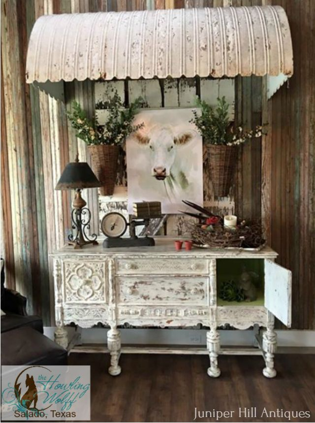 "This beautiful sideboard has been refinished by Juniper Hill Antiques and is displayed in a gorgeous shop in Salado Texas named ""The Howling Wolff""."