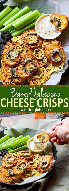 Easy Baked Jalapeno Cheese Crisps! Low carb gluten free cheese crisps with a tex mex flare! These healthier baked crisps are simple to make with minimal ingredients. Plus can be made mild or super spicy. You choose! One of our favorite appetizers and snacks. http://www.cottercrunch.com
