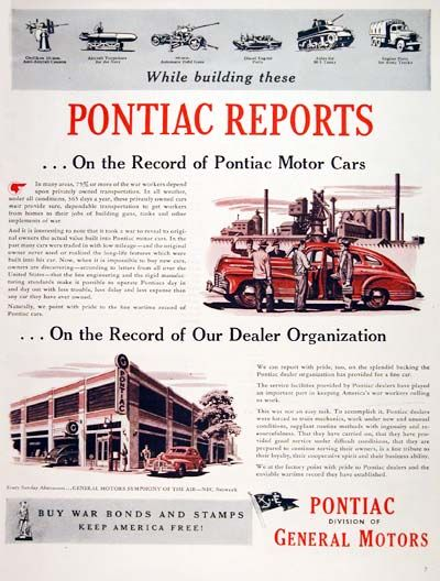 1944 Pontiac War Effort original vintage advertisement. Pontiac's contribution to the war effort includes Oerlikon anti-aircraft guns, Navy torpedos, automatic field guns, diesel engine parts, M-5 tank axles and various parts for military trucks.