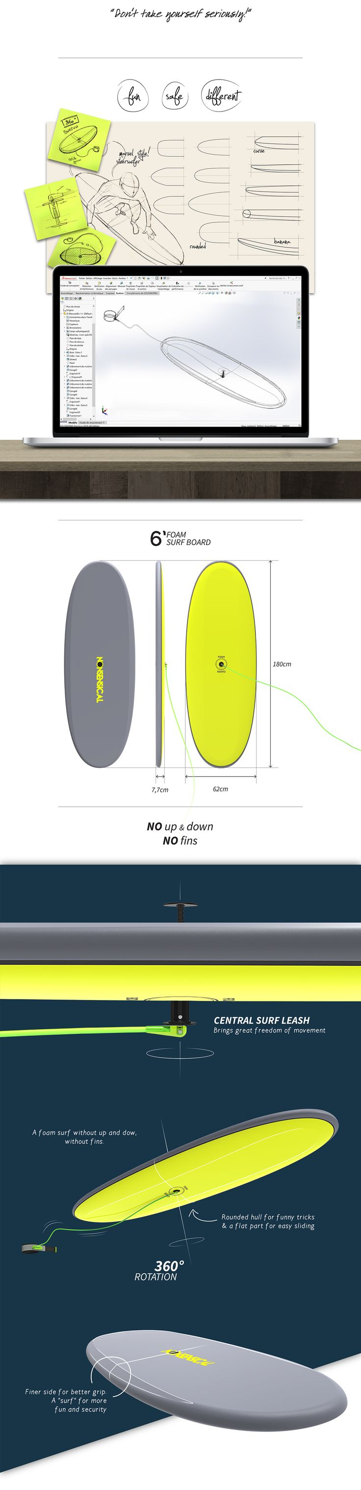 NONSENSICAL - foam surfboard - funny product ! on Behance