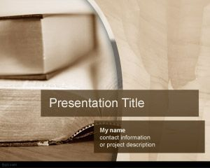 Book PowerPoint template, a Powerpoint sepia background with books for lecture presentations