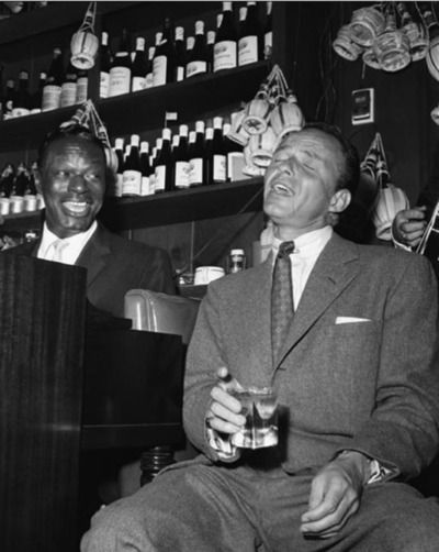 Nat King Cole and Frank Sinatra at Villa Capri, 1955.