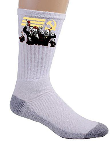 'Communist Party' Funny Pun Famous Communist Leaders Partying - Crew Socks