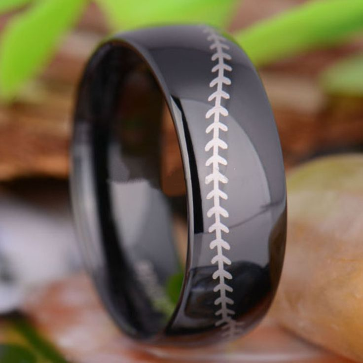 Tungsten 8mm Baseball Stitch Mens Wedding Ring