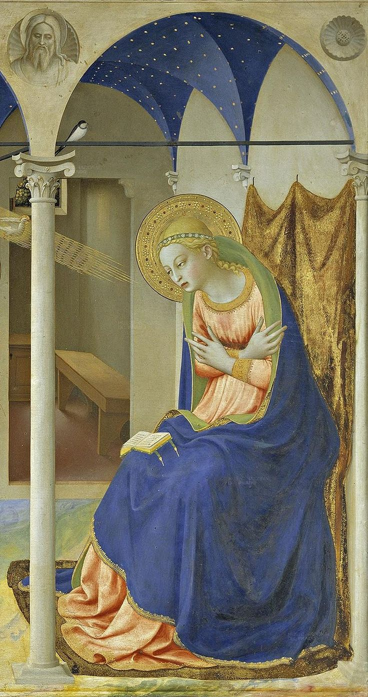 Fra Angelico 1395/1400 - 1455 The Annunciation 1426. Museo Nacional del Prado, Madrid Fra Angelico painted The Annunciation many times. Many consider that his painting of The Annunciation on the wall of the northern corridor on the upper floor in the Convento di San Marco in Florence to be his finest rendition of the theme. Some might also point out his Cortona Altarpiece again consisting of The Annunciation and six small predella pictures as a great refinement on The Prado altarpiece and a…