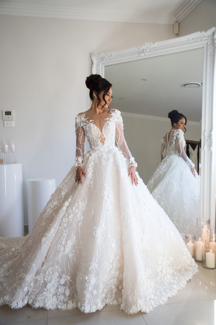Beaded Floral Lace Wedding Dresses Illusion Long Sleeves 2020 In