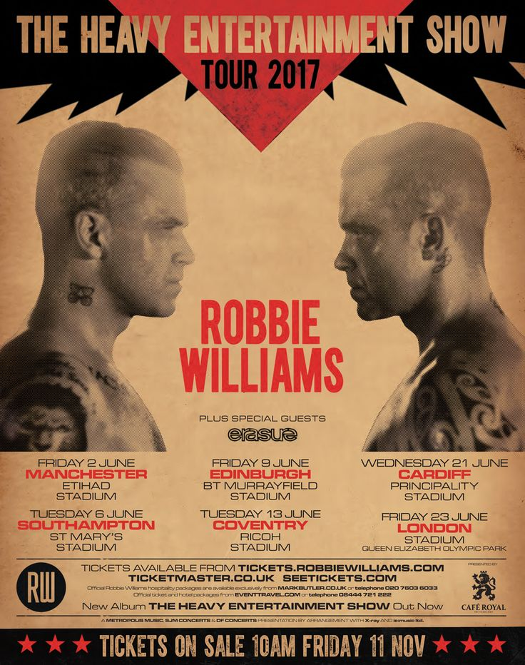Robbie Williams Concert Tickets for sale