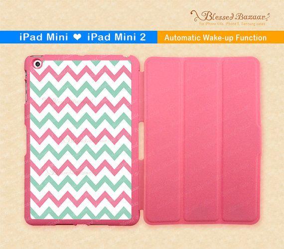 Pink Green Chevron iPad Mini Case iPad Mini 2 by BlessedBazaar, $29.99
