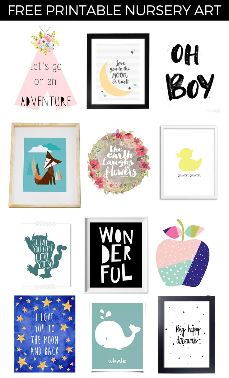 Free Printable Nursery Art - find one for almost any style nursery!