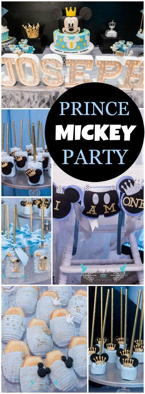 How amazing is this Prince Mickey 1st birthday party in blue and gold! See more party ideas at CatchMyParty.com!