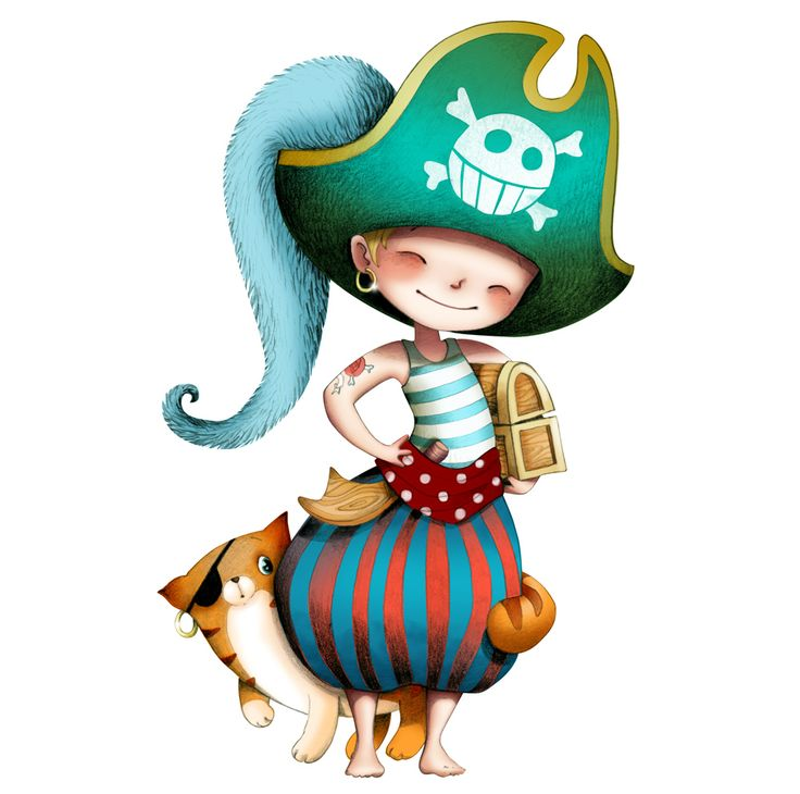 LE PIRATE ET LE CHAT / Sticker mural / wall stickers / Design Emmanuelle Colin
