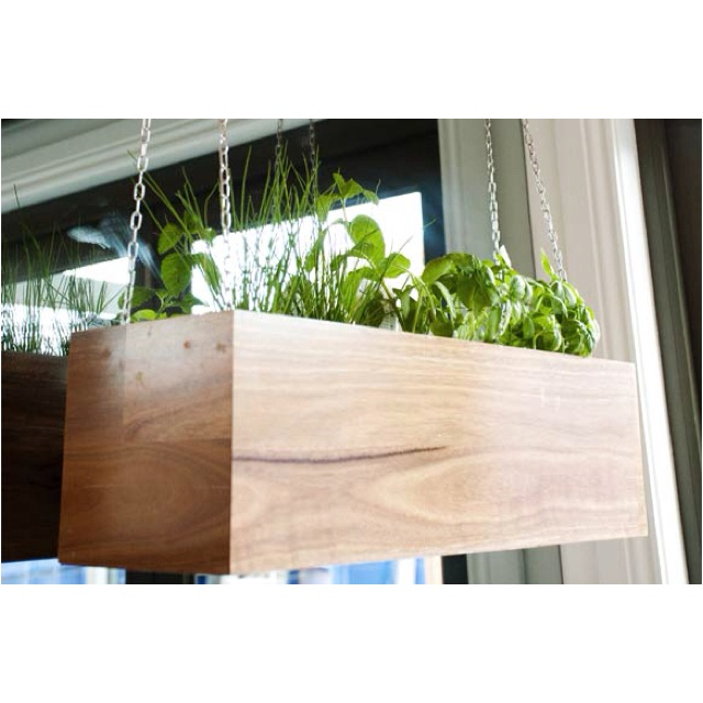 Hanging herb box in the kitchen