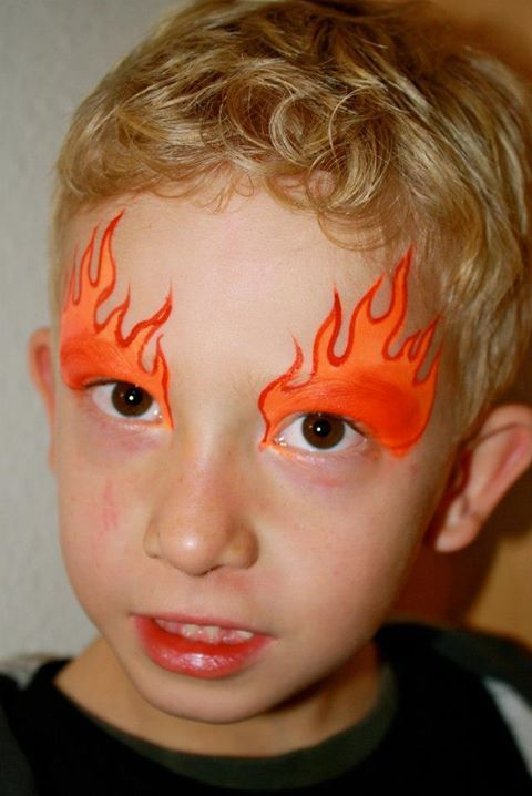 flame eye design face painting