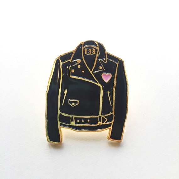 Leather jacket shaped pins designed exclusively by Bananna Bones.  -1.25 -backing included Hella cute for your jacket, vest, etc
