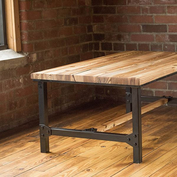 Belmont Collection - Reclaimed wood Coffee Table Historic heart pine top with industrial steel legs and brackets.