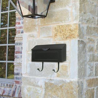 amboy black steel horizontal wallmount mailbox gibraltar mount mailboxhome depot
