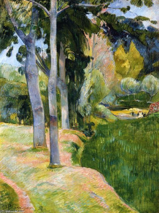 Il grande albero, olio su tela di Paul Gauguin (1848-1903, France)