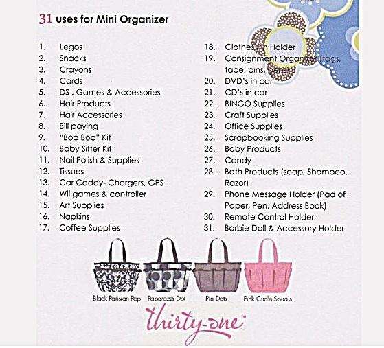 31 ways to organize with thirty-one mini organizer