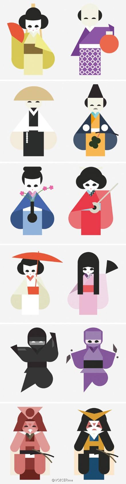 插画 | 巴塞罗那的Hey设计工作室带来的12个日本传统角色插画。