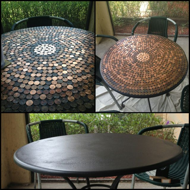"Before and After! I painted the top black and started glueing down pennies with gorilla glue. Just a final coat of epoxy on top and I have a whole ""new"" table for the outside!"