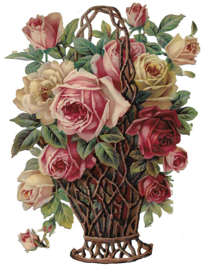 Large Victorian Die Cut Scrap of Wicker Basket filled with Roses