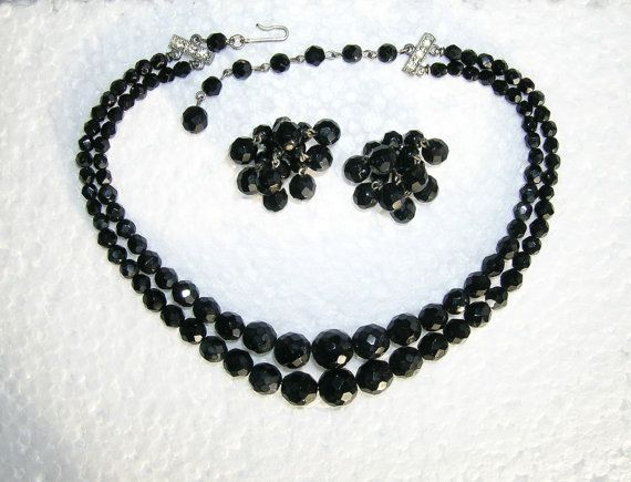 Vintage Laguna Double Strand Black Crystal and Silver Choker Necklace and Earrings Parure