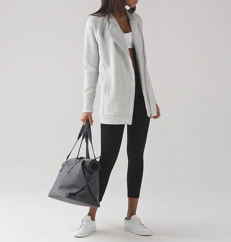 LULULEMON ATHLETICA Back To It Wrap 10 Fleece Jacket Heather Vapor Grey NWT #Lululemon #TrackJacket