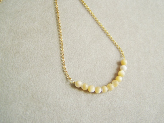 Thin golden chain necklace mother of pearl beads by Akatos on Etsy, $33.60: Chain Necklaces, Pearl Beads, Mother Of Pearls