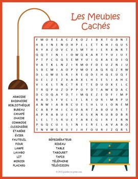 A word search puzzle for French language students featuring furniture vocabulary.  Puzzlers will have to look in all directions for the hidden words and there are some words that overlap.