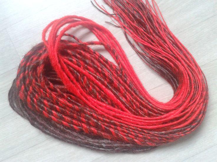 """Lot de 35 dreadlocks doubles """"dégradé de rouge à brun"""" : Accessoires coiffure par cece-creation"""