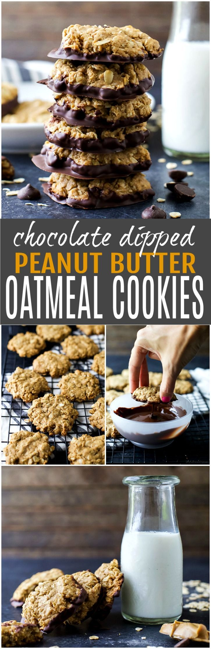 Soft & Chewy Healthy Oatmeal Peanut Butter Cookies dunked in Dark Chocolate - the perfect cookie recipe this holiday season. It's sure to be Santa's favorite!