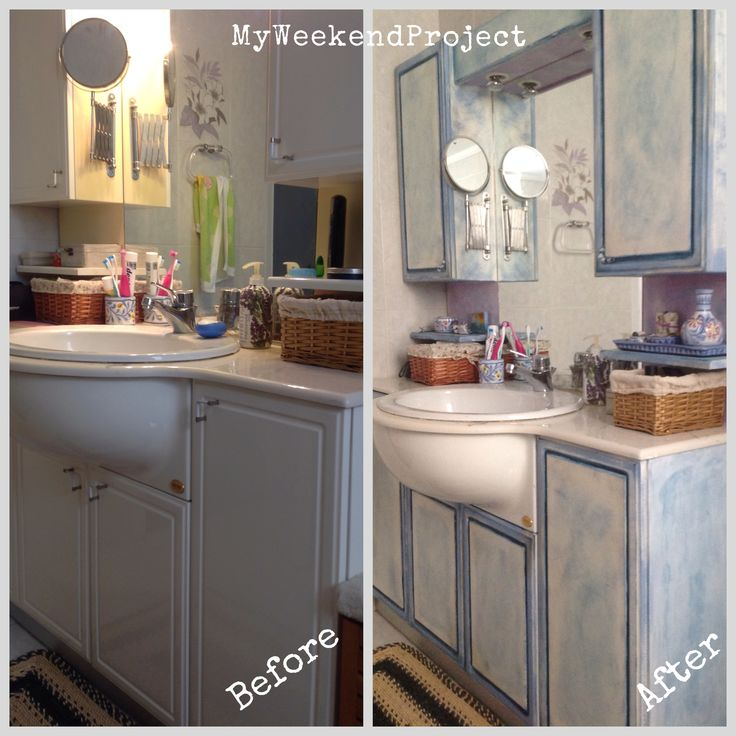 Bathroom furniture restoration with chalk paint. #MyWeekendProjects