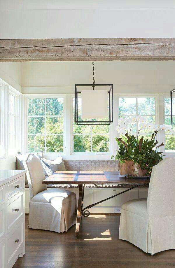 Beamed Ceiling Kitchens and Breakfast Banquette Nook