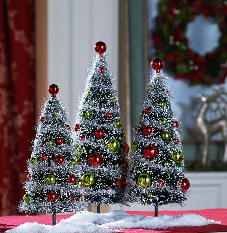 H208702 - Set of 3 Tinsel Trees http://qvc.co/-Shop-ValerieParrHill