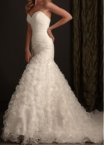 Image of Stunning Organza Mermaid Strapless Sweetheart neckline Wedding Dress