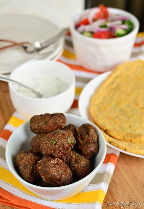 Slimming Eats Lamb Kofta with Sweet Potato Flatbread - Gluten Free, Dairy Free, Paleo, Slimming World and Weight Watchers friendly