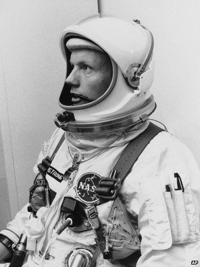Neil Armstrong in his suit for the Gemini VIII mission