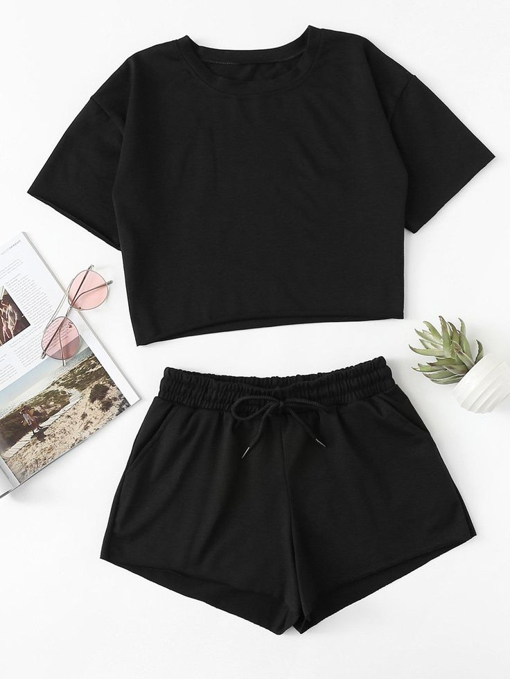 #mothersday #AdoreWe #SheIn - #SheIn Drop Shoulder Crop Tee With Shorts - AdoreW... 2